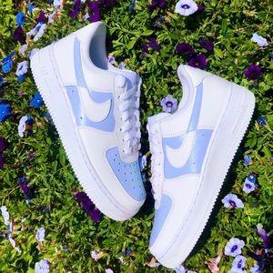 Blue nike custom air force 1 sneakers